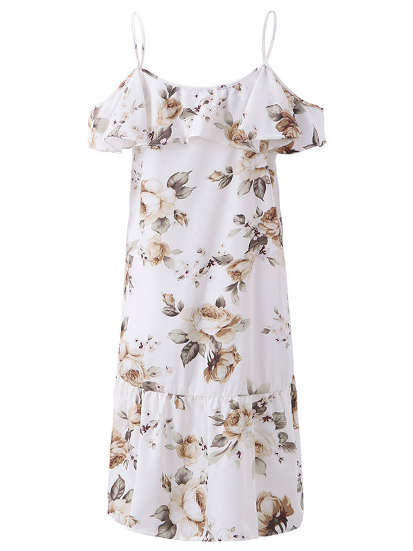Casual Dresses Casual Daily Casual Short Sleeve Print Cold Shoulder Flouncing Holiday Summer Dress