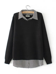 Women Patchwork Casual Spring Daily Casual Stitching Turn-down Collar Autumn Fake Two-Piece Sweater