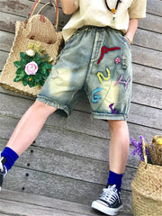 Denim & Jeans Spring Summer Shorts Patchwork Daily Casual