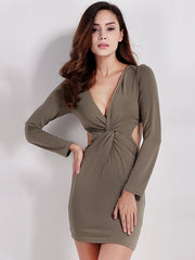 Sexy Dresses Solid Color Polyester Women Sexy Deep V Twist Bodycon Backless Long Sleeve Mini Dress