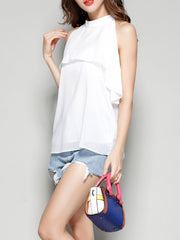 Basic O-neck Summer Beach Holiday Chiffon White O-Neck Party Work Women Tank Tops