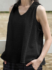 Tank Tops Spring Daily Casual Summer Fish Net Tank Top