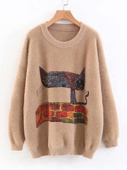 Women Long Sleeve Daily Casual Winter Cartoon Cat Print Sweaters Plus Size Sweaters & Cardigans