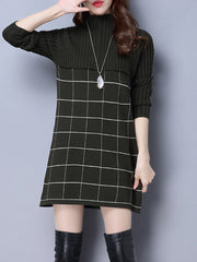 Casual Dresses Daily Casual Knitting O-neck Winter Autumn Mini Turtleneck Women Dresses