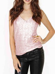 Party Sexy Sequins Summer YoungChic Tank Tops