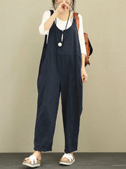 Jumpsuits & Rompers Sleeveless Holiday Summer Pure Color Frog Button Women Jumpsuits