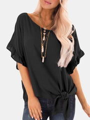 Women Half Sleeve Asymmetrical YoungChic Casual Knot Ruffle Short Sleeve Blouse Plus Size Blouses &