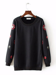 Women Cotton Casual Floral O-neck Winter Sweatshirt Plus Size Hoodies & Sweatshirts