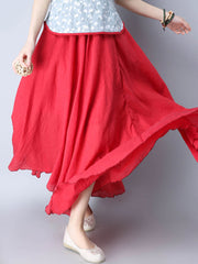 Skirts Daily Casual Summer Spring Casual Cotton Solid Color Loose Maxi Skirt For Women
