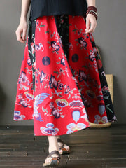 Cotton Winter Summer Floral Spring Daily Casual Maxi Skirts