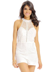 Jumpsuits & Rompers Daily Casual Women Sexy Summer Spring Mesh Lace Halter Slit Backless Jumpsui