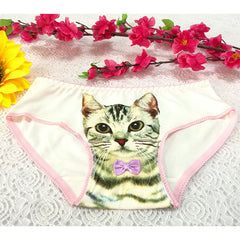 Women Low Waist 3D Pussycat Low-cut Leg 3D Print Breathable Panties