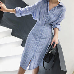Female striped long sleeve elegant dress