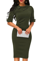 Elegant pencil skirt with tightly lapeled waist skirt
