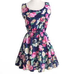 Fashion women's new sleeveless, round-collar printed Pleated Dress
