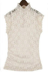 High-necked lace shirt with waistcoat