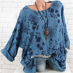 Floral Print For Women O-Neck Summer Casual Fashion Top