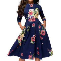 Retro Printing Seven-Point Sleeve Round Neck A-line Dress