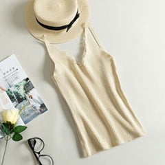 Female Knitted Short Section Wear Shirt Trend Tank Top