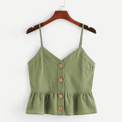 Lotus Leaf Side Suspender with Pure Colored vest