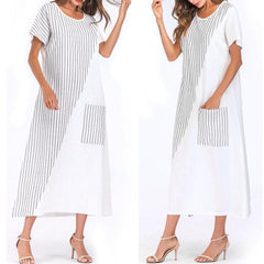 Fashion Stripe Round Neck Loose Skirt