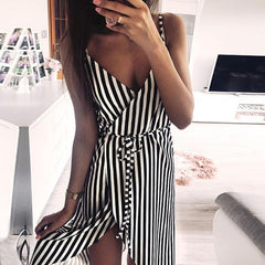 Striped printed sleeveless WAISTCOAT DRESS
