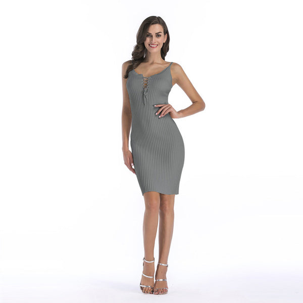 Show-shoulder sexy tight Mini Dress