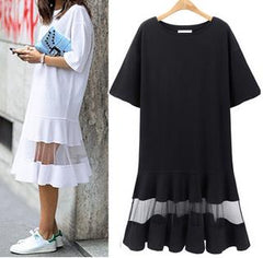 Large size retro Chiffon Lace Dress