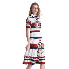 Printed Vintage collar Pleated Dress