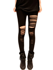 Elastic Waist Slim Sexy Punk Style Long Ripped Leggings