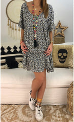 Short Sleeve Loose Leisure Printed Dresses