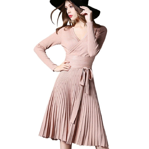 Long sleeve high waist dress with folded V collar
