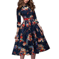 Flower-pleated retro A-shaped high-waist dress