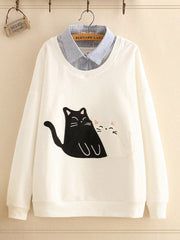 Women Cotton Daily Casual Long Sleeve Fake Two Pieces Cat Sweatshirts Plus Size Hoodies & Sweatshirt