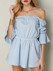 Sexy Dresses Drawstring Solid Color Polyester Sexy Off-shoulder Flouncing Horn Sleeve Women Mini Dre