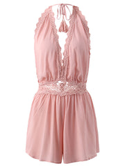 Jumpsuits & Rompers Daily Casual Summer Lace Sleeveless Holiday Hollow Backless Women Jumpsuits