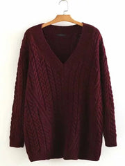 Women Basic Spring Holiday V Neck Solid Color Sweater Plus Size Sweaters & Cardigans