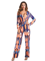 Jumpsuits & Rompers Women Spring Autumn Stripe Holiday Party Belted Ankle Length Jumpsuits