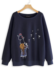 Women Long Sleeve Spring Daily Casual Casual Cartoon Print Sweatshirt Plus Size Hoodies & Sweatshirt