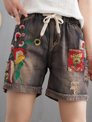 Denim & Jeans Daily Casual Distressed Casual Embroidery Elastic Waist Shorts