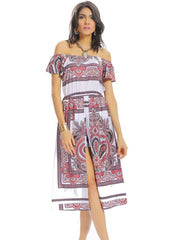 Jumpsuits & Rompers Short Sleeve Women Vintage Off-Shoulder Holiday Daily Casual Print Slit Half