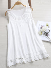 Daily Casual Summer O-neck Lace Crochet Casual Tank Tops