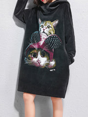 Women Spring Work Hooded Print Cat Velvet Plus Size Hoodie Plus Size Hoodies & Sweatshirts