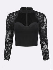 Daily Casual Sexy Lace Autumn Holiday Bodycon Stand Collar Spring Women Crop Tops