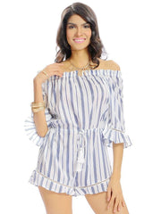 Jumpsuits & Rompers Off The shoulder Women Casual Stripe Print Off Shoulder Beach Summer jumpsui