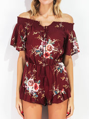 Jumpsuits & Rompers Off The shoulder Sexy Off-shoulder Holiday Summer Print Tie Short Sleeve Jum