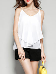 Daily Casual Spaghetti Straps Basic Holiday Sleeveless Chiffon White Two Layers Spaghetti Strap Tank