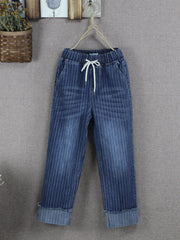 Denim & Jeans Striped Stripe Spring Daily Casual Cropped Jeans