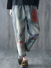 Denim & Jeans Daily Casual Distressed Letters Elastic Waist Autumn Winter Spring Denim