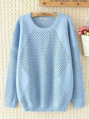 Spring Knit O-neck Casual Women Solid Hollow Out Sweater Plus Size Sweaters & Cardigans